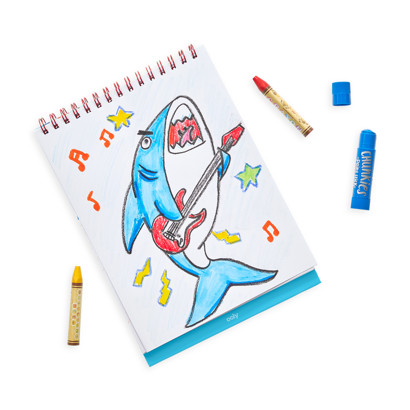 Drawing of a rock'n roll shark in the Sketch and Show Standing Sketchbook