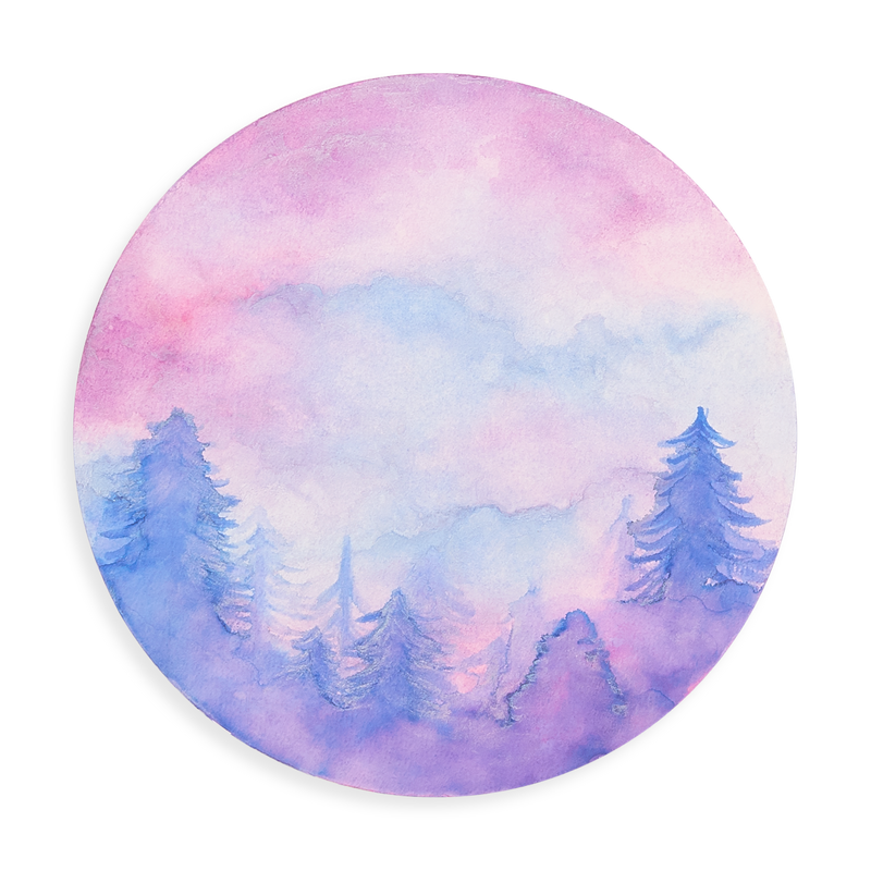 Twilight watercolor forest on Chroma Blends Circular Watercolor Paper