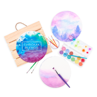 Chroma Blends Circular Watercolor Paper with watercolor tools including paint brushes and paint set