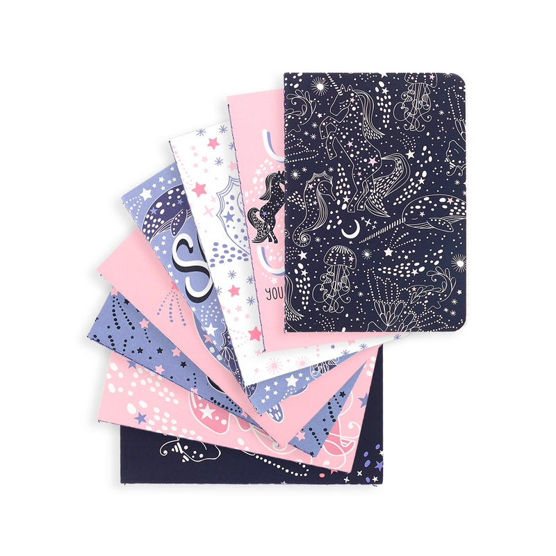 OOLY Celestial Stars Pocket Pal Journals splayed out