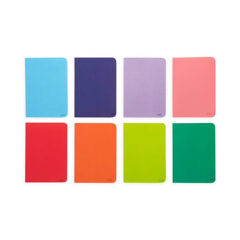 8 Colors of the Color Write Mini Pocket Pal Journals side by side