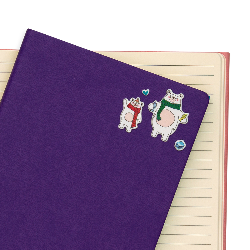 Itsy Bitsy - Arctic Antics Life mini stickers on a purple notebook.