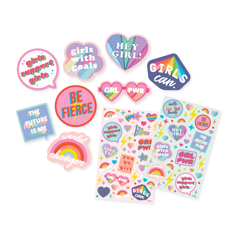 GRL PWR Scented Sticker sheets out of packaging next to die cut stickers