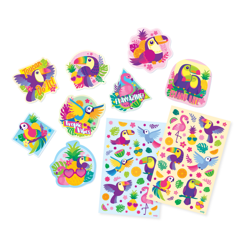 Tropical Birds Scented Sticker sheets next to die cut stickers