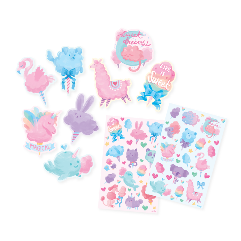 showcasing all OOLY Fluffy Cotton Candy sticker set