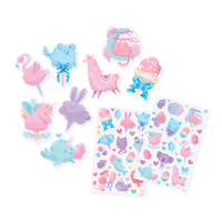 Fluffy Cotton Candy Scented Sticker sheets out of packaging next to die cut stickers