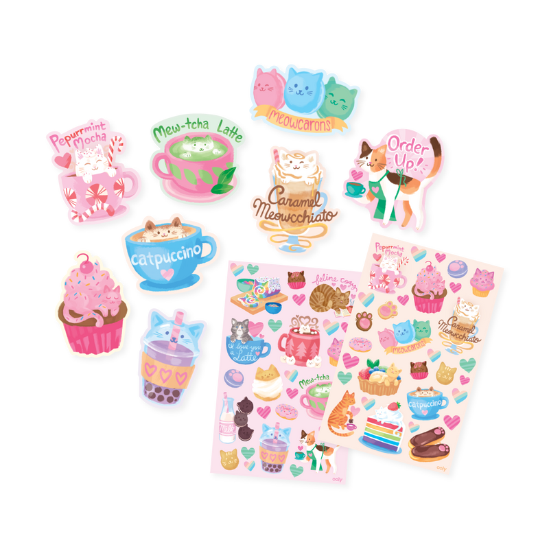 Cat Cafe Scented Sticker sheets out of packaging next to die cut stickers