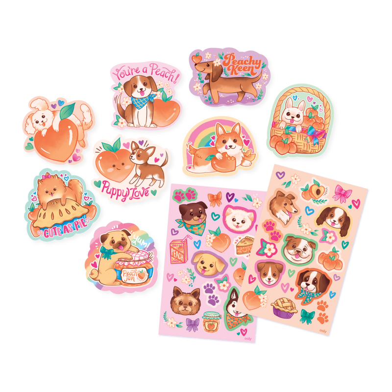 Puppies and Peaches Scented Stickers splayed out to show die cut and 2 sticker sheets