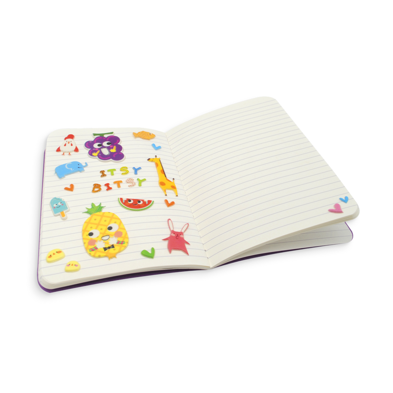 Itsy Bitsy Stickers on a mini notebook