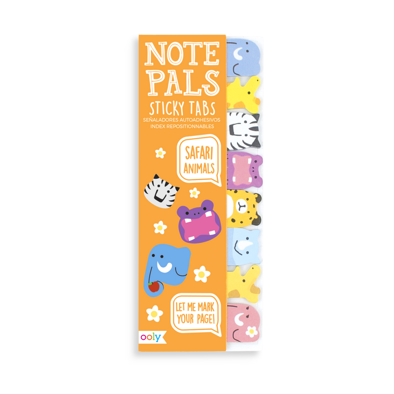 Note Pals Sticky Tabs with safari themed animals