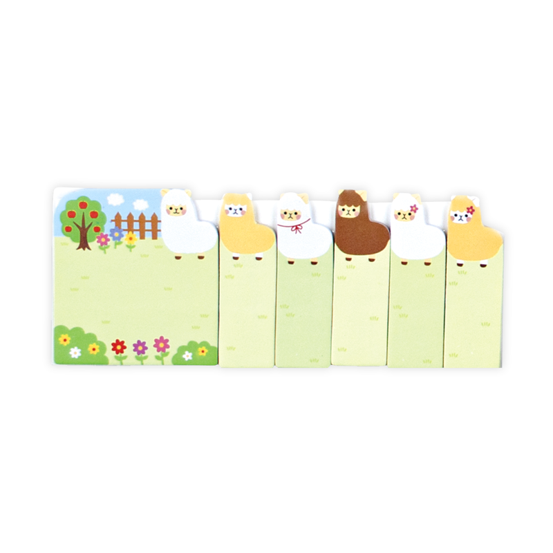 Note Pals Alpaca Farm sticky tabs with 6 different alpaca designs