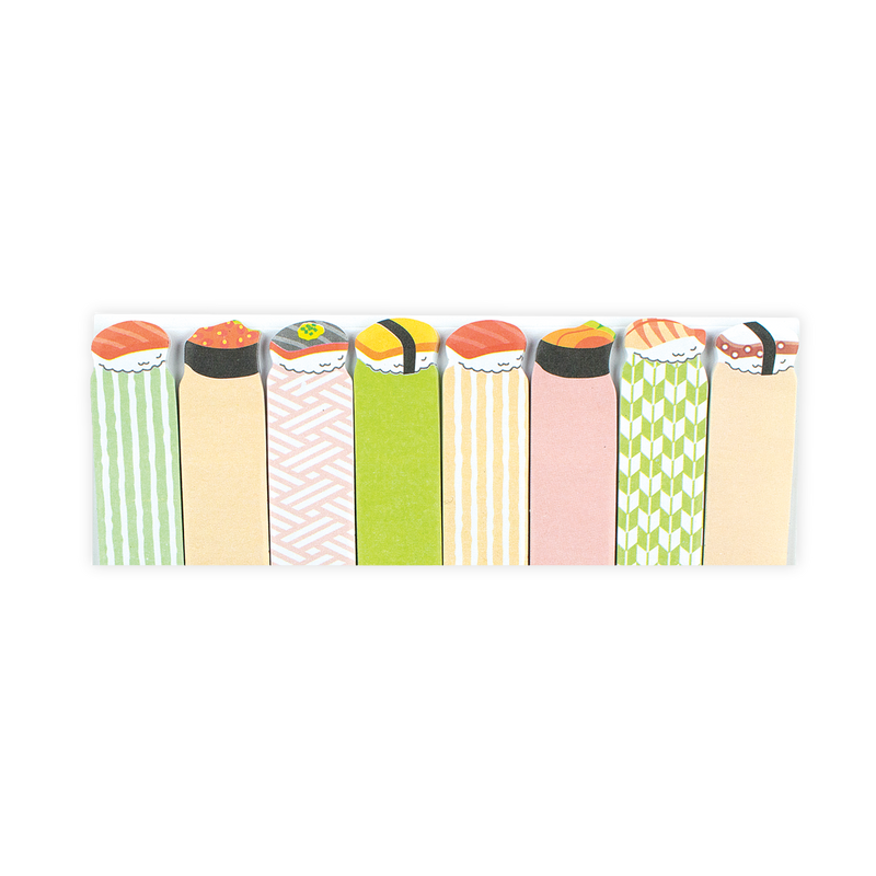Sushi themed sticky tabs with 4 unique designs