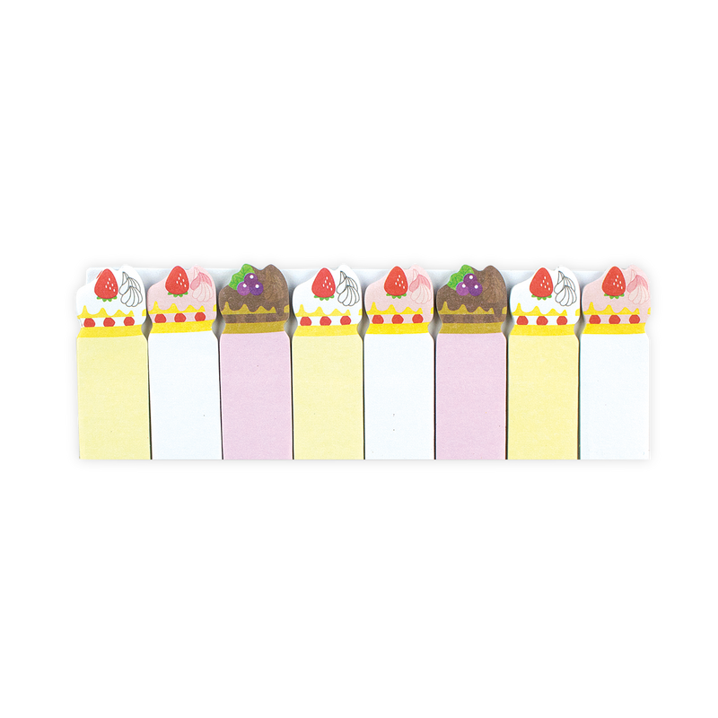 Cute sweet cake themed sticky note tabs with 4 unique designs