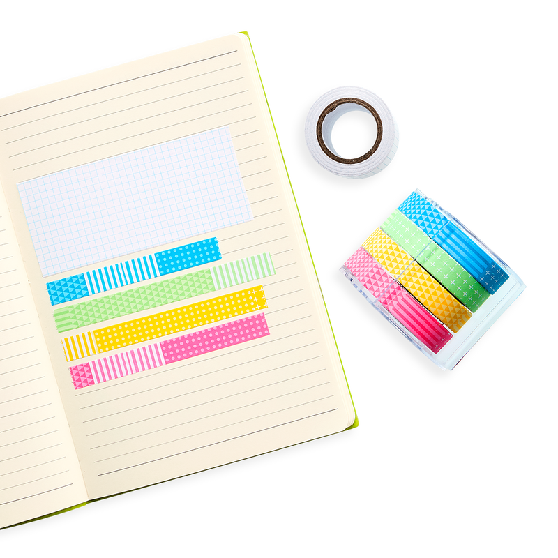 Lined Paper notebook with Neon Vibes Notes on a Roll swatches