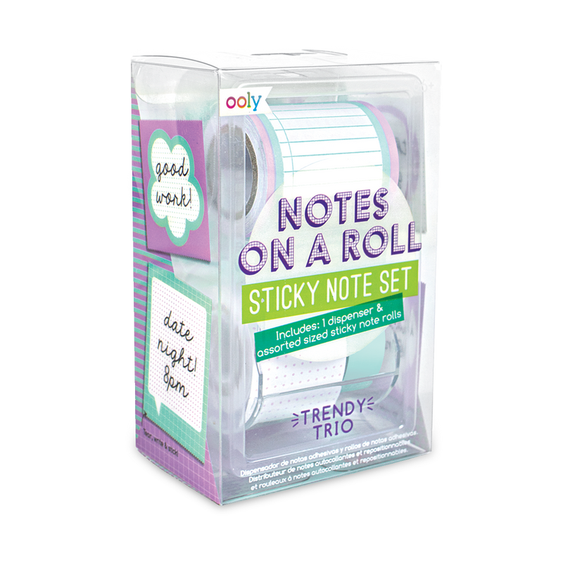 Trendy Trio Notes On A Roll sticky note set with dispenser