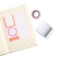 Lined paper notebook with Note Worthy Notes on a Roll swatches