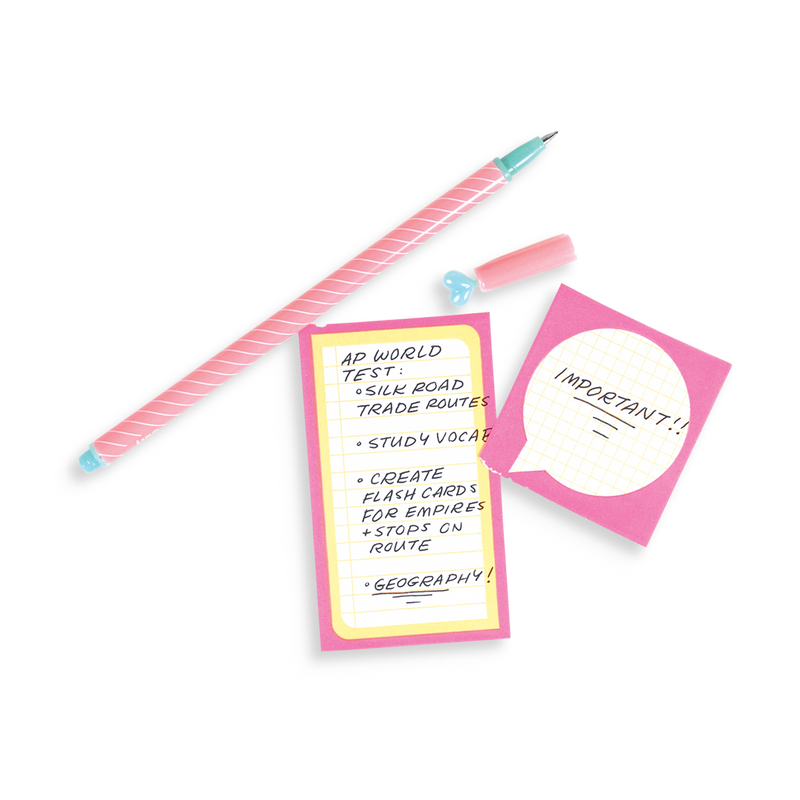 Pen with notes written on Notes On A Roll sticky notes