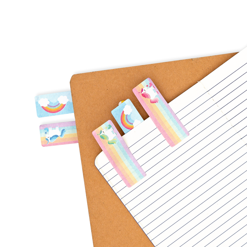 Note Pals Sticky Tabs - Magical Unicorns shown as bookmarks