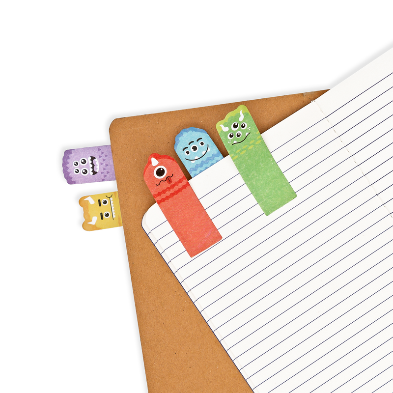 Note Pals Sticky Tabs - Monster Pals shown as bookmarks