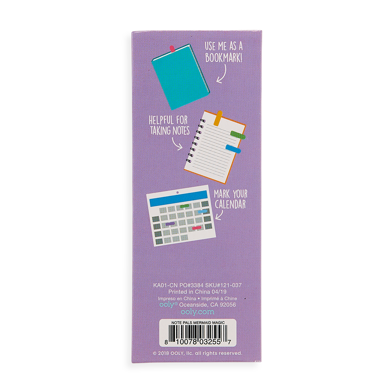 Back of Mermaid Magic Note Pals Sticky Notes set