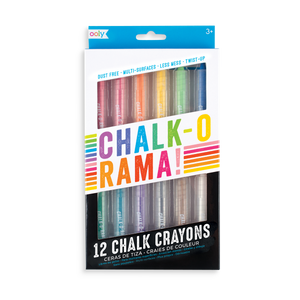 Dustless chalk crayons that can write on multiple surfaces. Chalk-O-Rama Crayons come in a set of 12 chalk sticks.