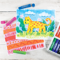 Colorful paintings done with OOLY Chunkies Paint Sticks