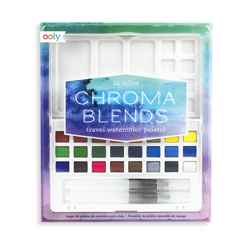 Chroma Blends Travel Watercolor Palette with 24 colors and 2 water brushes