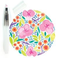 Watercolor flower mosaic with flat tip water brush from Chroma Blends Travel Set