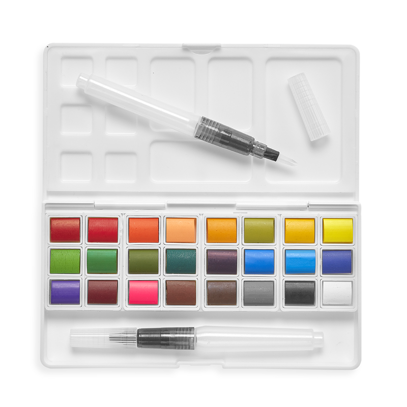Chroma Blends Travel Watercolor Palette laying open showing watercolors and two water brushes