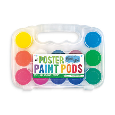 lil Poster Paint Pod set with 12 poster paint colors and a paintbrush
