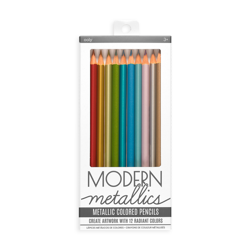 Modern Metallics Colored Pencils is a set of 12 metallic colored pencils