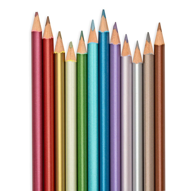 Close up of Modern Metallics Colored Pencils showing metallic barrels and tips