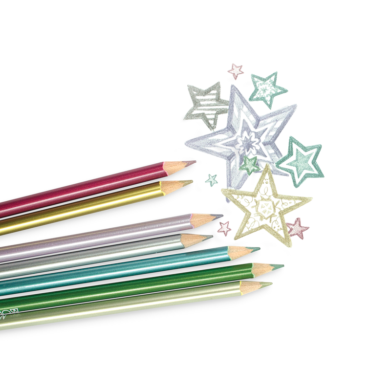 Modern Metallics Colored Pencils with metallic star drawing