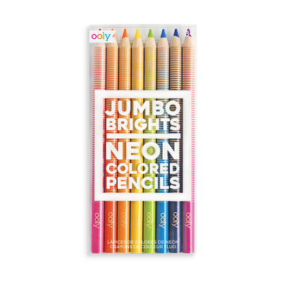 Set of 8 Jumbo Brights Neon Colored Pencils with thick chunky barrels.