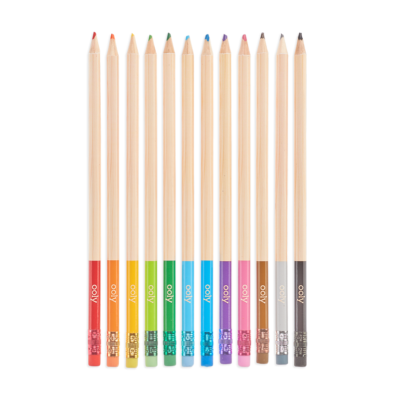 Unmistakeables Erasable Colored Pencils lined up out of packaging