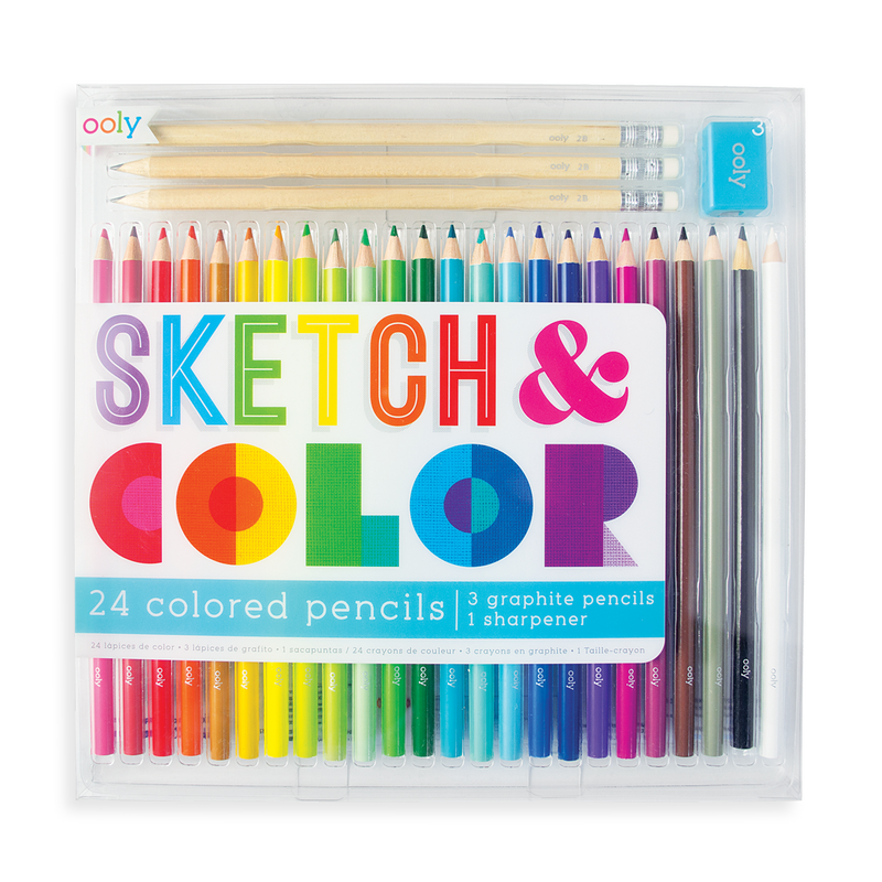 Sketch and Color Colored Pencil Set with reusable case, graphite pencils and pencil sharpener