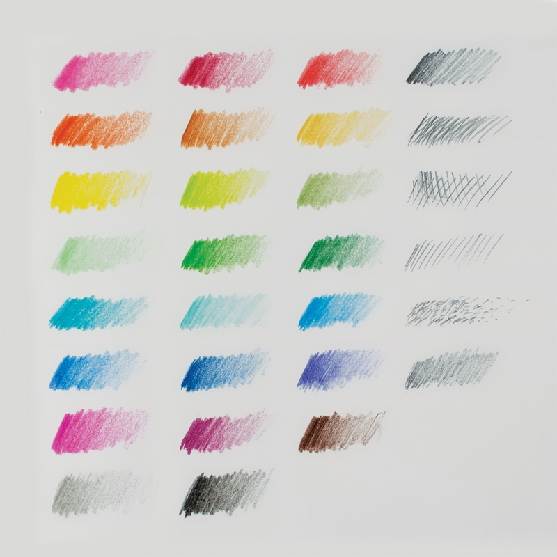 All colors and graphite pencil swatches from the Sketch and Color Colored Pencil Set