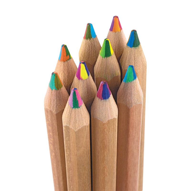 Closeup shot of colored pencil tips of Kaleidoscope Multi-Colored Pencils