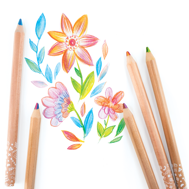 Flowers colored with Kaleidoscope Multi-Colored Pencils