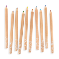 All 10 Kaleidoscope Multi-Colored Pencils scattered on white background