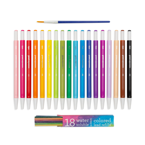 Chroma Blends Mechanical Watercolor Pencils shown with the refills and paintbrush included in set