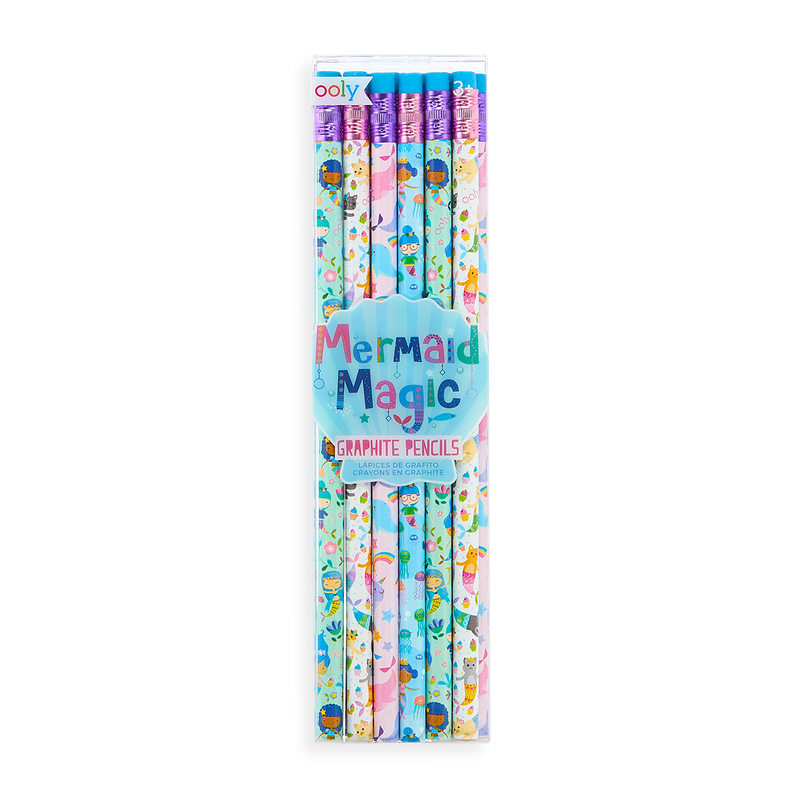 Set of Mermaid Magic Graphite Pencils in packaging