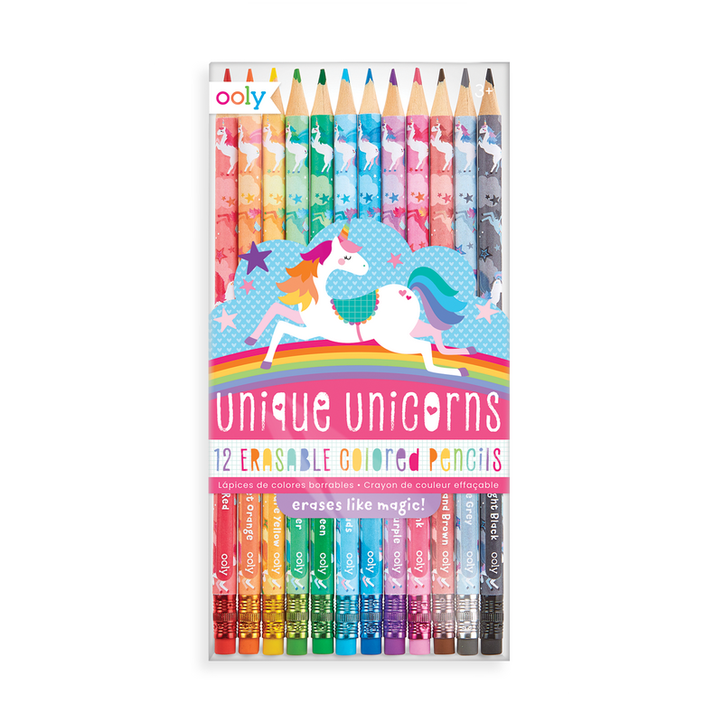 OOLY Unique Unicorns Erasable Colored Pencils in package (front)