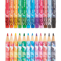 Image showing the Unique Unicorns Erasable Colored Pencil erasers and pencil tips
