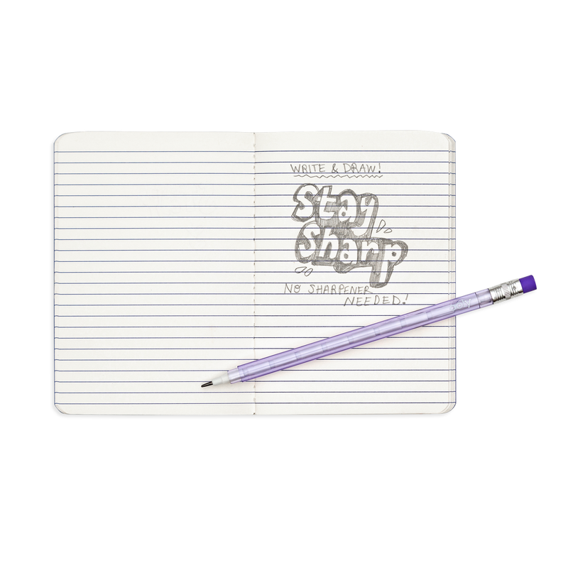 Stay Sharp Rainbow Mechanical Pencils shown writing in a note book