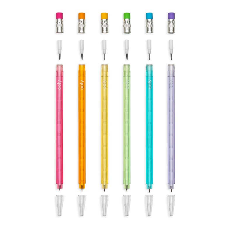 Stay Sharp Rainbow Mechanical Pencils lined up showing the refill points