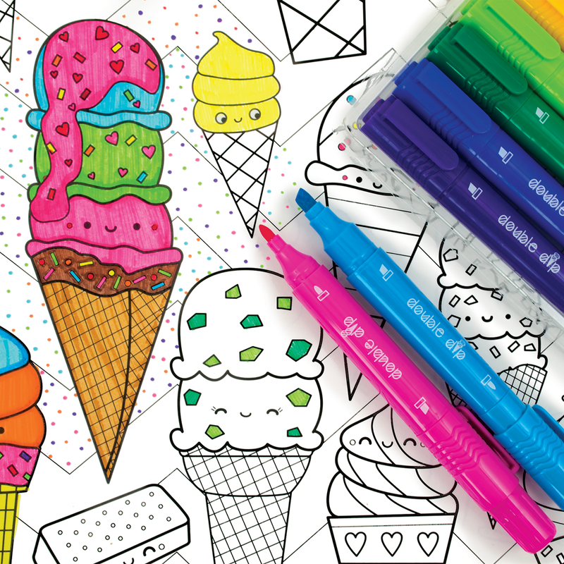 Double Dip Scented Markers are used to color in ice cream cones in a coloring book.
