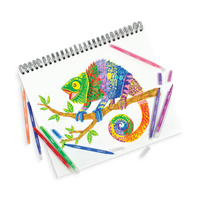 Drawing of a colorful chameleon in a sketchbook with Switch-Eroo Color Changing Markers around it