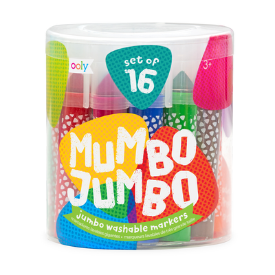 Mumbo Jumbo marker set with 16 washable markers in a reusable case