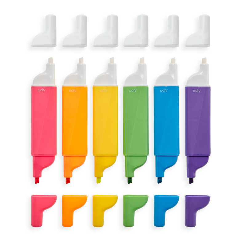 Image of Do-Overs Erasable Highlighters lined up in a row with caps off